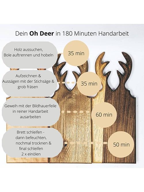 WoodHock handgefertigtes Servierbrett Oh Deermassiv Eiche