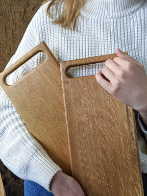 WoodHock handgefertigtes Servierbrett Scandi massiv Eiche